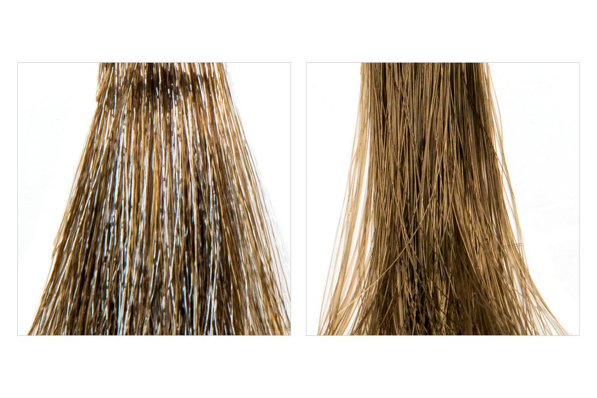 混色髮束及單色髮束的比較